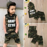 2PCS Toddler Kids Baby Boy Hooded Vest Tops Shirt+Shorts Pants Outfit Clothes US