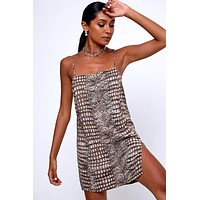 MOTEL Datista Dress In Croc Neutral Gray
