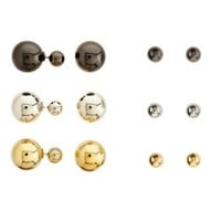 Multi Mixed Metal 360 Stud Earrings - 3 Pack by Charlotte Russe