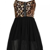 Leopard Print Dress with Zipper Front and Black Skirt