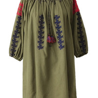 Army Green Print Embroidery Tie Round Neck Half Sleeve Dress-top
