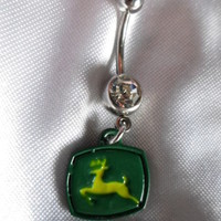 John Deere Belly Button Ring Green Stainless Steel 14 Guage