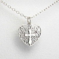 """Stamped 925 Sterling Silver Cross Heart Filigree Pendant 18"""" Necklace Gift Boxed"""