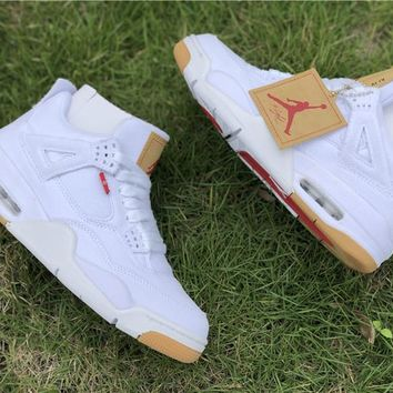 Levis x Air Jordan 4 All White Basketball Shoe