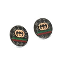 Gucci titanium steel stud earrings, ladies' accessoriesblack round, simple and versatile rose gold quality earrings.