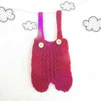 Hand knit baby overalls