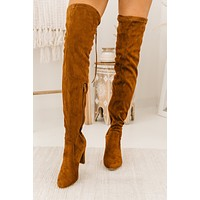 Evalina Faux Suede Thigh High Boots (Camel)
