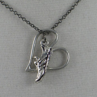 RUN WITH HEART Open Heart Necklace - Running Necklace on 18 inch gunmetal chain - Running Jewelry - Love to Run