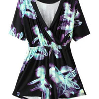 Black Wrap V-neck Tie Dye Print Short Sleeve Romper