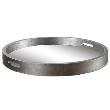 Bechet Round Silver Tray By Uttermost