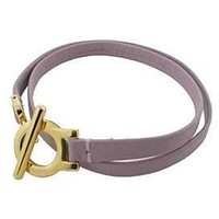 Leather Bracelet Double Wrap Gold Plated Clasp Lavender Leather Fits 7.5 wrist