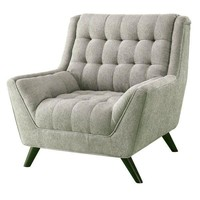 Grey Upholstered Chenille Mid-Century Tufted Padded Arm Chair
