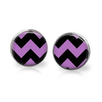 Purple Chevron Earrings Halloween Earrings Black Chevron Black and Purple Halloween Colors Halloween Jewelry Photo Earrings Purple Studs