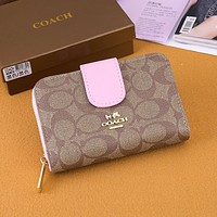 COACH Women Fashion Leather Zipper Buckle Wallet Purse