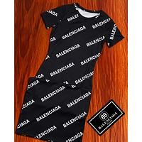 B Balenciaga Dress Double Monogram Print Tee Shirt Dress Balenciaga  Skirt Black
