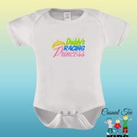 Daddy's Racing Princess EMBROIDERED Baby Girl Bodysuit or Toddler Tshirt