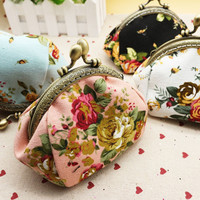 Flower Print Coin Purse