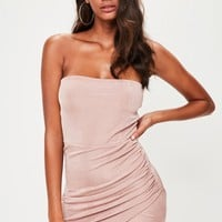 Missguided - Nude Bandeau Ruched Side Bodycon Dress
