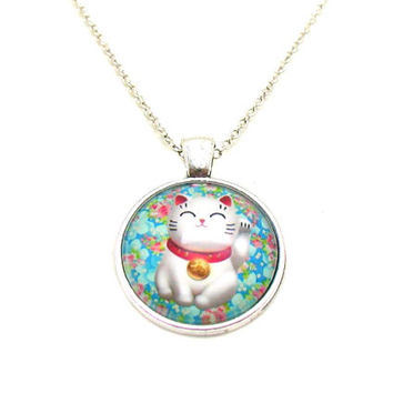 Cat Necklace, Cartoon Cat Pendant, Photo Necklace, Cat Jewelry, Animal Cartoon, Picture Jewelry, Kitten Necklace, Kitten Jewelry, Kitty Cat