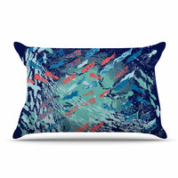 """Frederic Levy-Hadida """"Underwater Life - Blue"""" Blue Fish Pillow Case"""