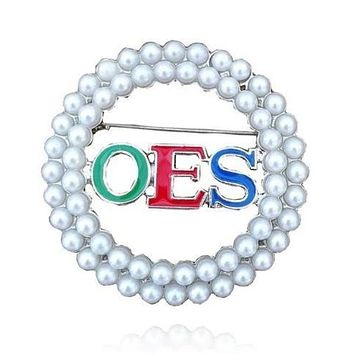 Order of the Eastern Star Pearl OES Brooch