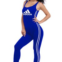 Adidas Women Casual Short Gym Set Jumper Vest Romper Sapphire Blue