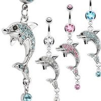 316L Surgical Steel Multi CZ Paved Dolphin with Orb Drop Dangle Navel Ring (Sold Individually-1pc Aqua)