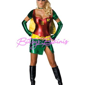 Adult Women's Sexy Superhero Robin Halloween Costume 5pc Dress Batman Accomplice