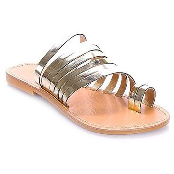 TUUMI METALLIC FLAT SANDALS - GOLD