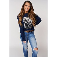 """Girls Night Out"" Graphic Pullover Sweater (Navy)"