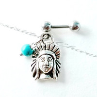 316L Surgical Steel 16g, 16 gauge tribal Indian Chief head turquoise bead Helix, cartilage, tragus earring