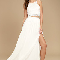 Midnight Memories White Lace Two-Piece Maxi Dress