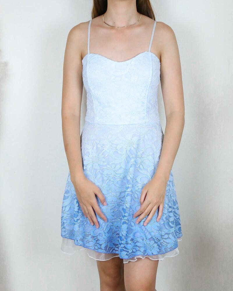 Image of Glits & Glams Lacy Floral Dip Dye Fit and Flare Dress in Powder Blue