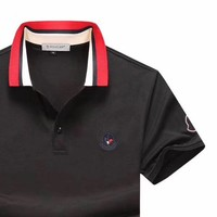 Moncler 2019 new thin section lapel POLO shirt half-sleeved T-shirt Black