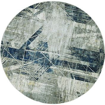 "Blue and Grey Rug - 91"" X 91"" X 0.'25"" Grey/Blue Polyester / Viscose Rug"