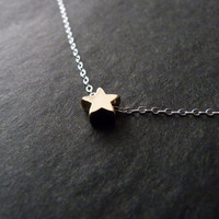 BLACK FRIDAY SALE Gold Star Necklace, Little star necklace, Tiny star necklace, Gold Star Jewelry, Sterling Silver chain,