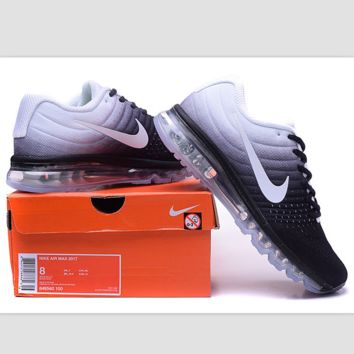 """NIKE"" Trending Fashion Casual Sports Shoes AirMax section Black white gradient"