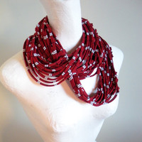 Oxblood Red Infinity Scarf White Navy Stripes Upcycled Clothing Circle Scarf Eco Friendly Burgundy Cowl Scarf Spring Fashion