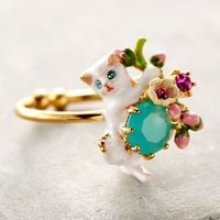 Le Chat Blanc Ring by Les Nereides White One Size Rings