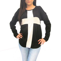 New Black Long Sleeve Oversized Open Shoulder Sweater With White Cross.