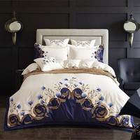 Cool White Blue Embroidered Luxury Bedding set 60S Egyptian Cotton Double King Queen size bed sheet set Duvet cover PillowcaseAT_93_12