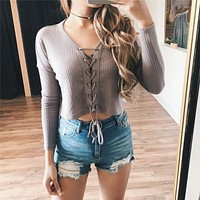 Fashion Solid Color V-Neck Bandage Long Sleeve Sweater T-shirt Crop Tops