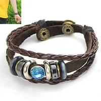 *Free Shipping* Brown Woven Ethnic Wind Cortex Couple Bracelet 11051267 from clothingloves