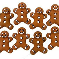 Gingerbread with White trim Cookies Plastic Buttons/ Sewing supplies / DIY supplies / Novelty Buttons / Party Supplies / Kids craft supplies