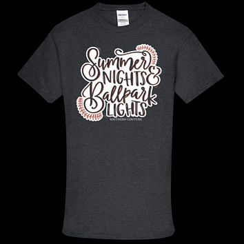 Southern Couture Soft Collection Summer Nights & Ballpark Lights Baseball front print T-Shirt
