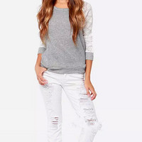 Scoop Back Sweater Lace Sleeves