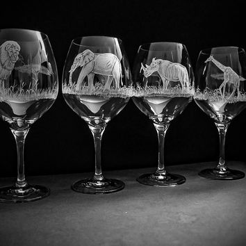 African Wildlife set of four hand engraved glasses