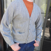 1960s Gray Mens Cardigan Sears Button Down Sweater Retro Casual Urban Hipster Vintage Boyfriend Gift Large