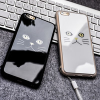 Black and White Cat Lovers for IPhone 6/6 plus Phone Shell Silicone Acrylic Mirror