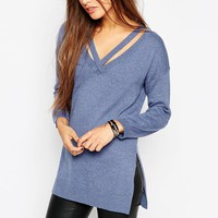 ASOS Knit Tunic with Cut Out V-Neck